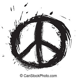 Peace symbol  - Black peace symbol created in grunge style