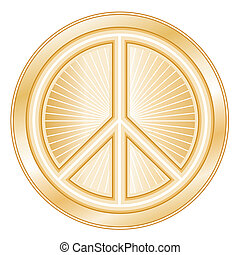 Peace Symbol - Golden international symbol of peace on earth...