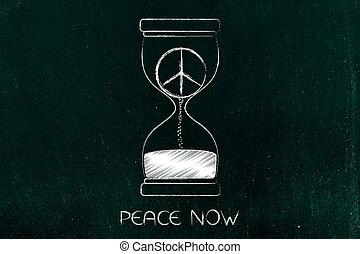 peace symbol inside hourglass