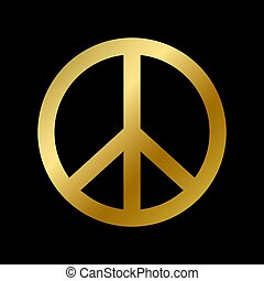 Peace symbol isolated on white background. Pacifist and hippie sign vector illustration. Golden piece icon, protest, pacifism, no war and world love concept