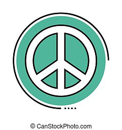 peace symbol line and fill style icon
