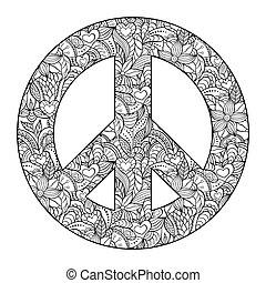 peace symbol on black background