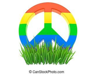 Peace symbol on grass