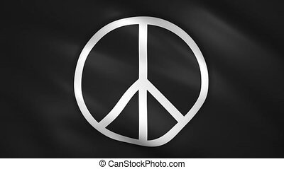 Peace symbol on the black flag moves in the wind