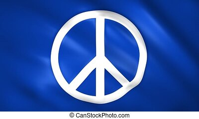 Peace symbol on the blue flag moves in the wind