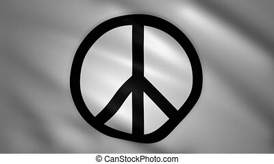 Peace symbol on the white flag moves in the wind
