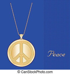 Peace Symbol Pendant Necklace Chain - Gold engraved...