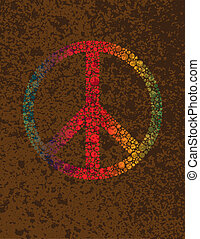 Peace Symbol Polka Dots on Texture Background