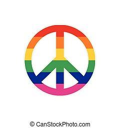 Peace symbol rainbow flat icon isolated on white background