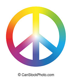 Peace Symbol Rainbow Gradient - Peace symbol with circular...