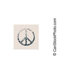 Peace Symbol Vector in grunge style