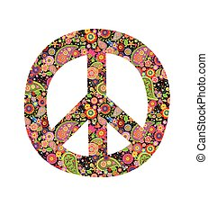 Peace symbol with colorful flowers