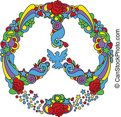 Peace symbol  with flowers and star