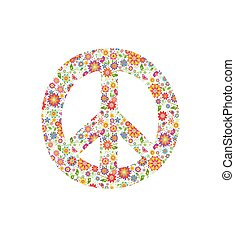 Peace symbol with flowers print