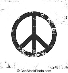 Peace symbol with grunge texture, black and white vintage design