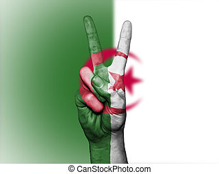 Peace Symbol with National Flag of Algeria