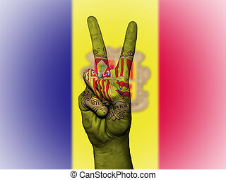 Peace Symbol with National Flag of Andorra