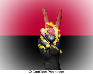 Peace Symbol with National Flag of Angola