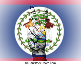 Peace Symbol with National Flag of Belize