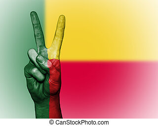Peace Symbol with National Flag of Benin