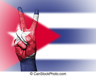 Peace Symbol with National Flag of Cuba