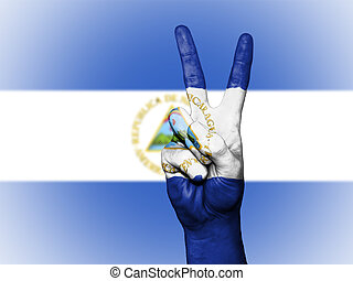 Peace Symbol with National Flag of Nicaragua
