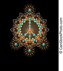 peace symbol with turquoise