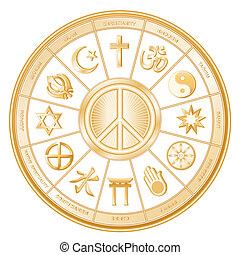 World Religions surrounding International Peace Symbol: Islam, Christianity, Hinduism, Taoism, Baha'i, Buddhism, Jain, Shinto, Confucianism, Native Spirituality, Judaism, Sikh. Labels. White background. EPS8 compatible.