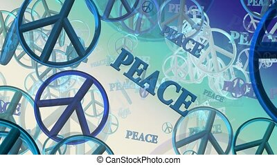 Peace symbols in blue