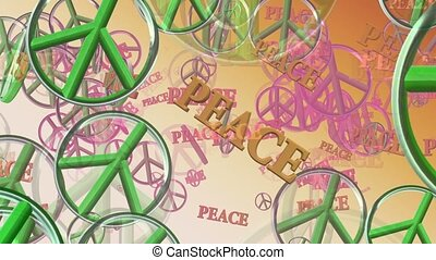 Peace symbols in green