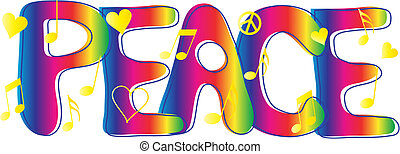 Hand drawn Peace text in rainbow gradient with peace sign.