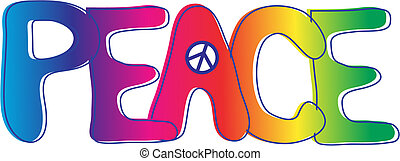 PEACE text - Hand drawn Peace text in rainbow gradient with...
