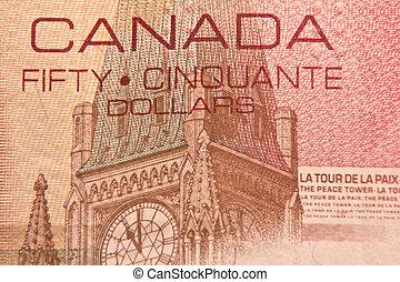 Peace Tower on 50 dollar bill