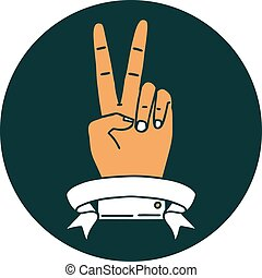 peace two finger hand gesture with banner icon