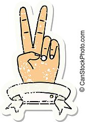peace two finger hand gesture with banner illustration