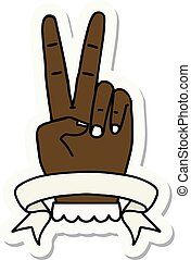 peace two finger hand gesture with banner sticker