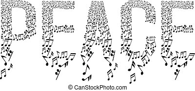 peace typography with musical notes pattern