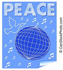 Peace vector banner with dove flying over the globe and music symbols. White drawing on blue background.