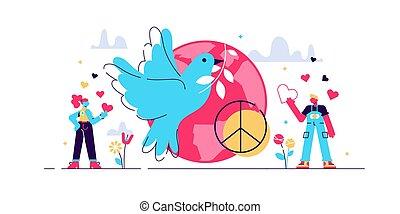 Peace vector illustration. Flat tiny