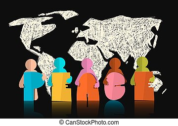 Peace Vector Slogan - Title with Paper Cut People on Black Earth Map Background