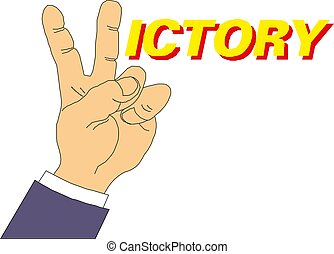 Peace victory hand gesture. Two fingers up. Vector symbol