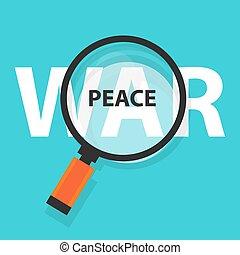 peace war politics concept analysis magnifying glass symbol