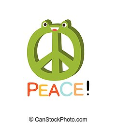 Peace Word And Corresponding Illustration, Cartoon Character Emoji With Eyes Illustrating The Text