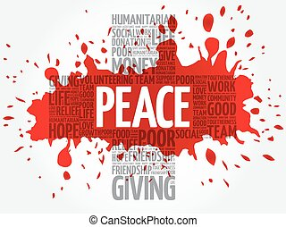 Peace word cloud collage