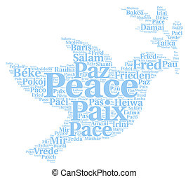 Peace word cloud in different languages