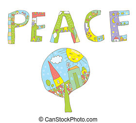 Peace word design with tree, flowers, birds for children
