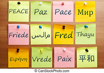 Peace word in 12 languages