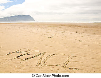Peace Written in the Sand on a Sunny Day