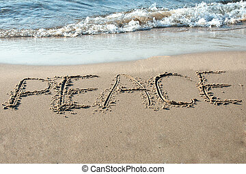 Peace written in the sand