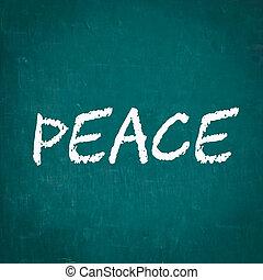 PEACE written on chalkboard